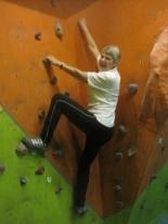 Linda on the Climbing Wall