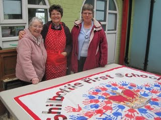 Helping with the First School's Jubilee Banner