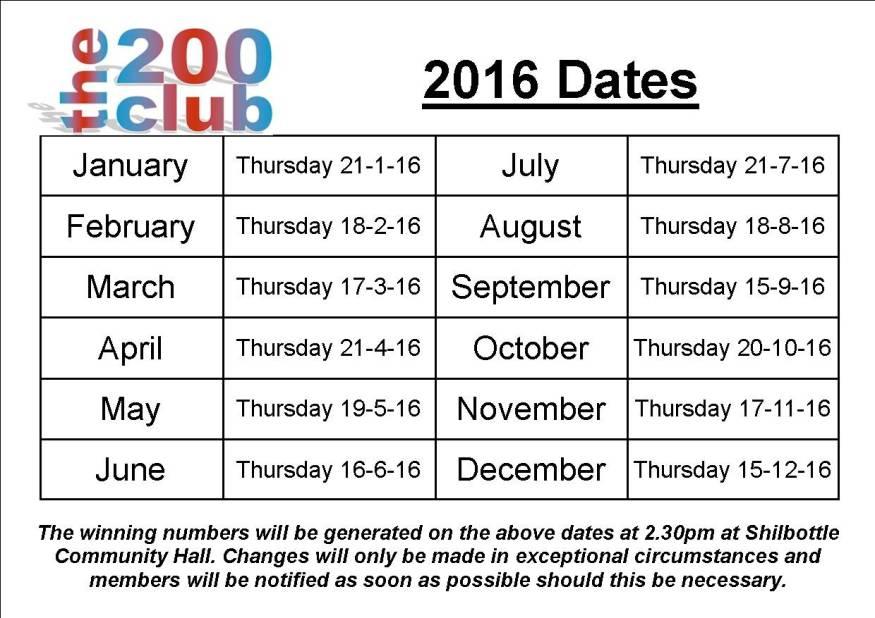 2016 200 club dates